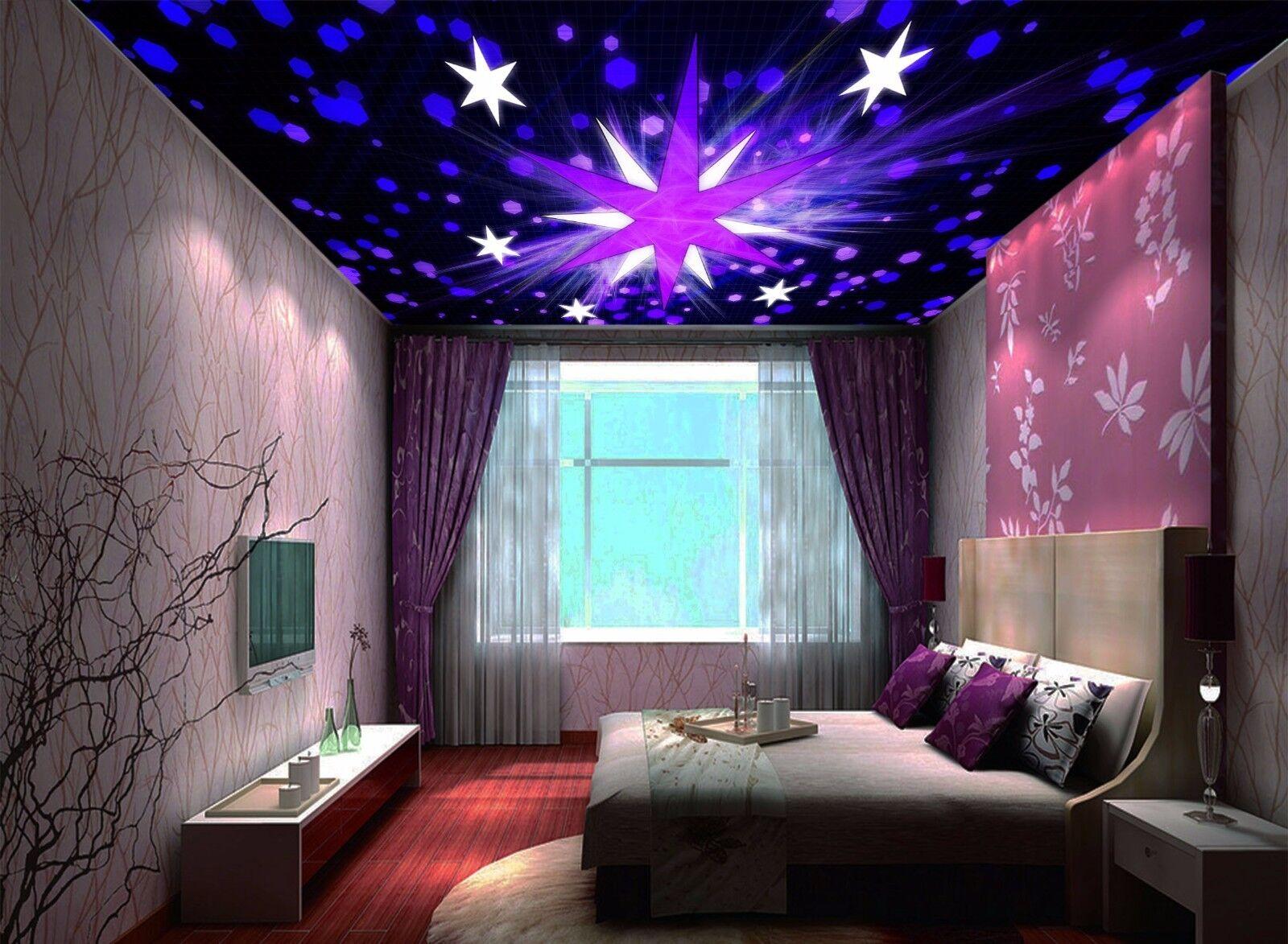 3D Star Purple Ceiling WallPaper Murals Wall Print Decal AJ WALLPAPER US