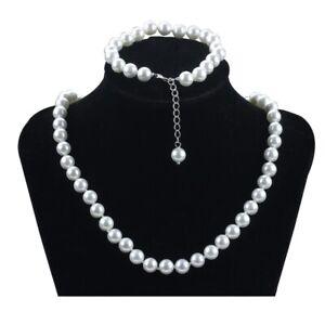 Schmuckset-Perlenkette-Armband-aus-perfekt-runden-weissen-8mm-Muschelkernperlen