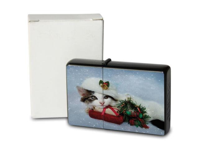Pocket Windproof Lighter Brushed Oil Refillable Christmas cat