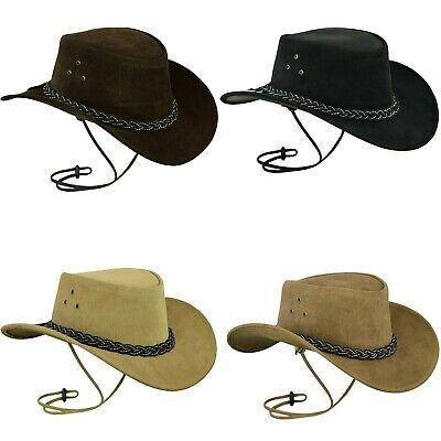 Generoso Nuovo Vera Pelle Stile Cowboy Western Australiano Bush Cappello Chin Strap Filo Uk-mostra Il Titolo Originale Delizioso Nel Gusto