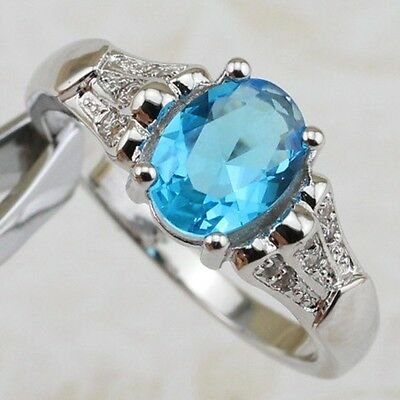 Size5.5 6.5 7.5 8.5 9.5 Nice Sky Blue Topaz Jewelry Gold Filled Woman Ring R2003