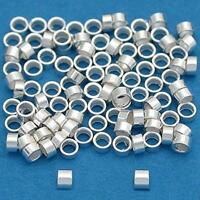 100 Sterling Silver Crimp Tube Beads Beading 2x1mm, New, Free Shipping on sale
