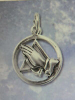 Sobriety Jewelry - Triangle Praying Hands Pendant - Recovery - Sterling Silver
