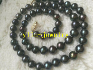 Real-8-9MM-REAL-BLACK-Tahitian-PEARL-NECKLACE-14K-GOLD-CLASP-18