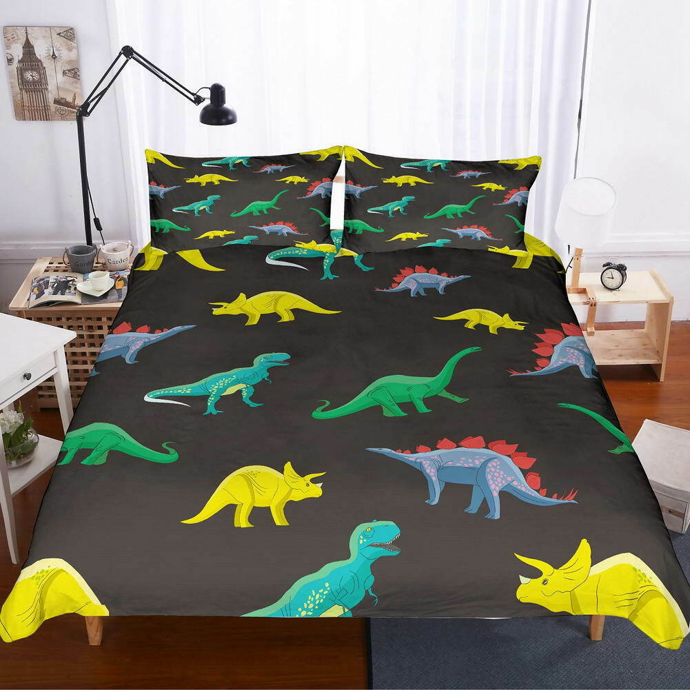 Blau Tyrannosaurus 3D Quilt Duvet Doona Cover Set Single Double Queen King Print
