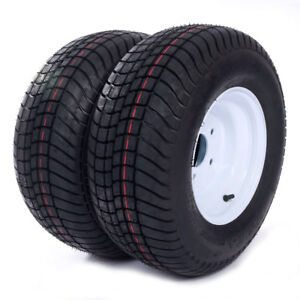 2-20-5x8-0-10-LRC-Bias-Trailer-Tires-on-5-Lug-White-Wheels-205-65-10