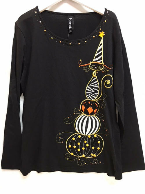 New Berek Kitty Cat On Top Of Halloween Pumpkins Woherren schwarz T-Shirt Sz M or L