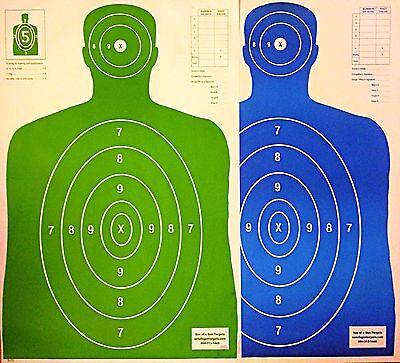Shooting Targets 50 Green/50 Blue Silhouette Gun Pistol Rifle Range B-27 Qty:100