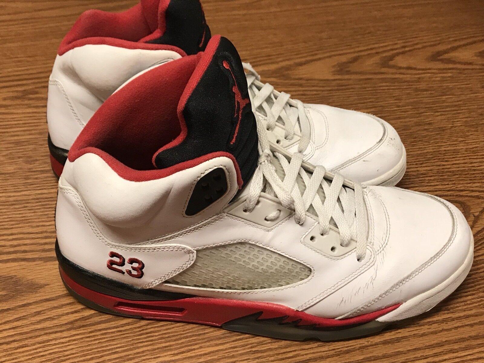 Nike 136027-120 Air Jordan 5 Retro Fire Red Black White Basketball Shoe Sz 12