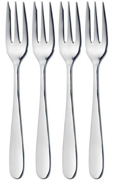 Masterclass Solid Polished Stainless Steel Set of 4 Small Pastry / Dessert Forks