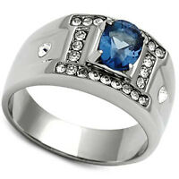 Oval Shape Montana Blue Stone Silver Stainless Steel Mens Ring