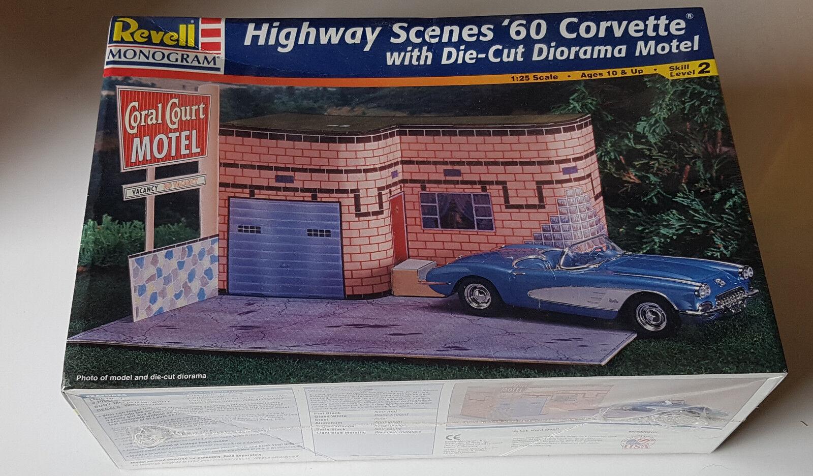Revell Monogram Highway Scenes '60 Corvette mit Diorama , NEU