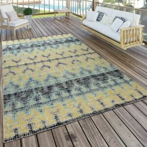 Indoor Amp Outdoor Rug Boho Yellow Turquoise Black Ebay