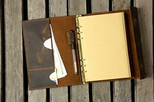Details about Personalized A5 real Leather Journal refillable binder travel  notebook portfolio