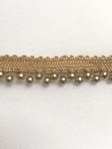 ATTRACTIVE ETHNIC INDIAN TINY ROSE GOLD BEADED RIBBON LACE TRIM SOLD by METRE