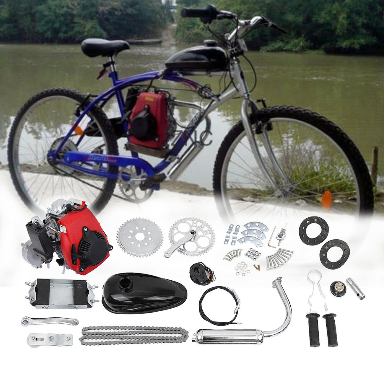 4-Takt 49CC Gas Benzin Motorierte Bike142F 26