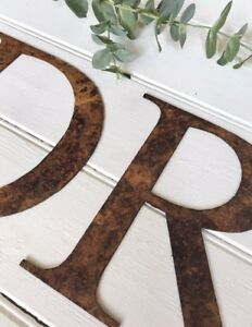 Rostbraun Metall Alphabet Buchstaben Zahlen @ & Wandbehang Garten Küche Dekor