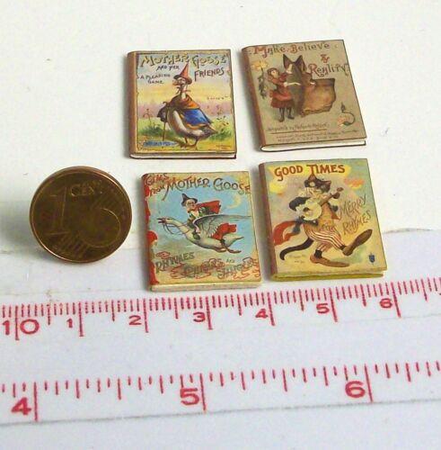 1801# petite Nostalgie DECO-bücherset 4 pièces-maison de poupée poupée-m1zu12