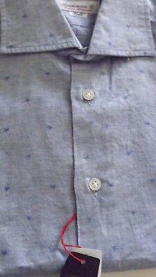 100% Vero Brancaccio 1°linea Camicia 38 180,00 Cartellino Cotone Fatta A Mano Slim