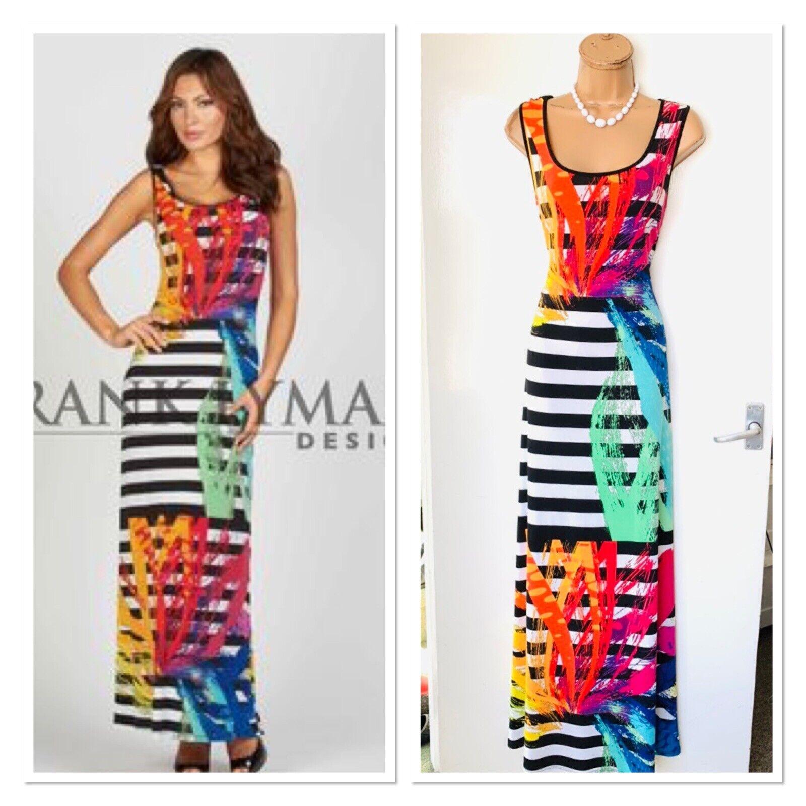 FRANK LYMAN Colourful Striped Tropical Pattern Jersey Maxi Dress Uk 10