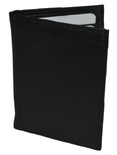 Slim Thin Mens Bifold Genuine Leather ID Wallet Black Card Holder by leatherboss