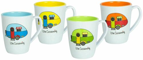 Flamefield Set of four 4 Love Caravanning Melamine Kitchen Camping Mug Set