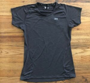 Under-Armour-Women-s-Active-Short-Sleeve-Heat-Gear-Top-Size-Small-Dark-Gray