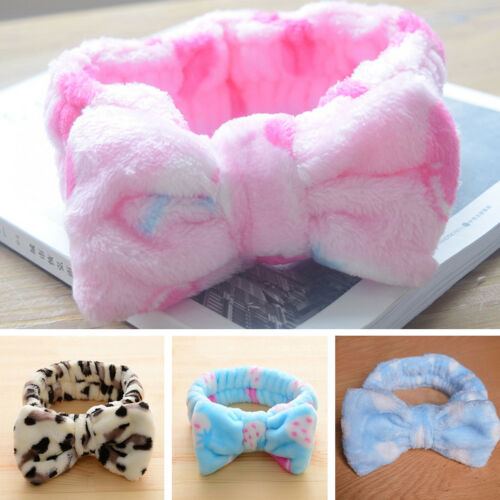 Women Cute Bowtie Flannel Wash Your Face Headband Hairband Headdress Hair Band