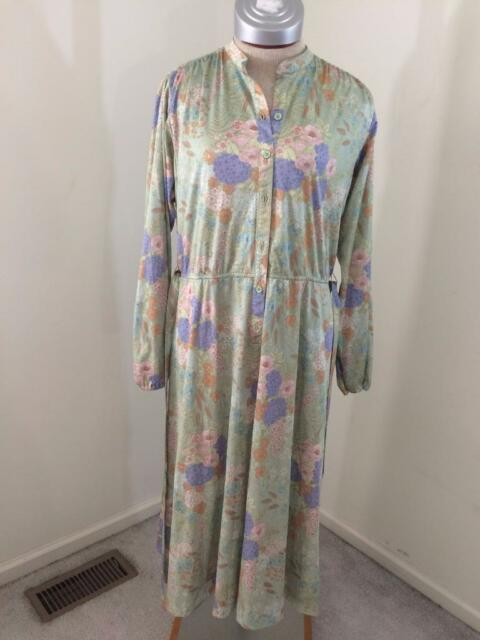Vintage Leslie Fay dress size M medium 1970s green floral dress long belt