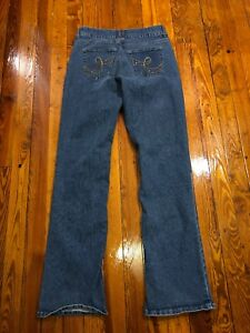 Riders-By-Lee-Jeans-size-6-M-Slim-Straight-Jegging-Embellished-Stretch-Blue