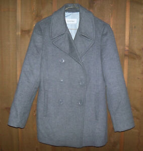 Manteau laine chiné Calvin gris Klein caban caban taille boutonnage double 8 rTqx4wrE7C