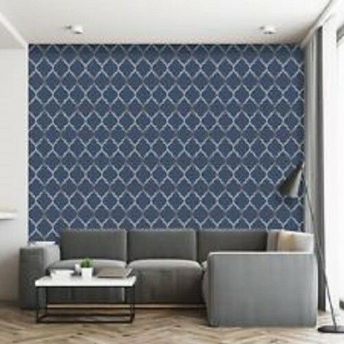 Trellis Geometric Fretwork Blue /& Silver Metallic Wallpaper New Rasch 701647