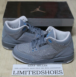 huge discount 9a9df 6ec0b Details about NIKE AIR JORDAN 3 III RETRO GS COOL GREY BLUE GLOW 441140-015  white cement 88 og