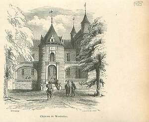 Kasteel-Chateau-d-039-Argenteuil-Castle-a-Waterloo-GRAVURE-ANTIQUE-OLD-PRINT-1880