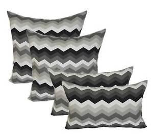 Set Of 4 Black Gray Chevron Lumbar Pillows In Outdoor 17 X 17