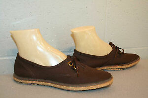 7 NOS VINTAGE 70s BROWN ESPADRILLE GRASSHOPPERS SNEAKER OXFORD Tennis New Shoe
