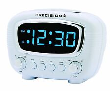 Precision Radio Controlled LED Alarm Clock Blue Display Mains Power PREC0071