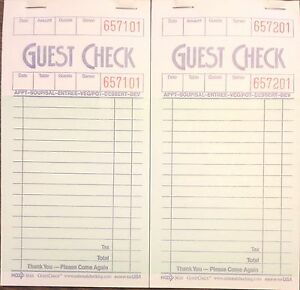 G3616 Guest Checks Book Waitress Pad 15 Line 100 Page Booklet NEW Paper