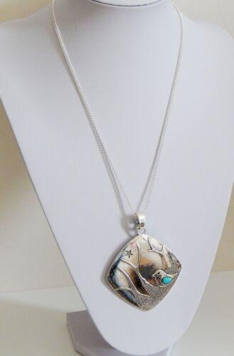 Bordillo Cadena Collar con opción de Rombus Antiguo Colgante De Plata Boho Chic