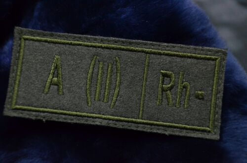 Patch Negative A- Russian Olive Military Blood Type