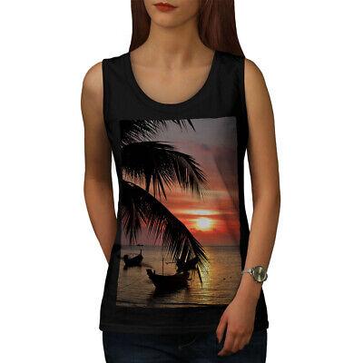 Wellcoda Sunset Palm Tree Womens Tank Top, Ocean Beach Athletic Sports Shirt Hohe Belastbarkeit