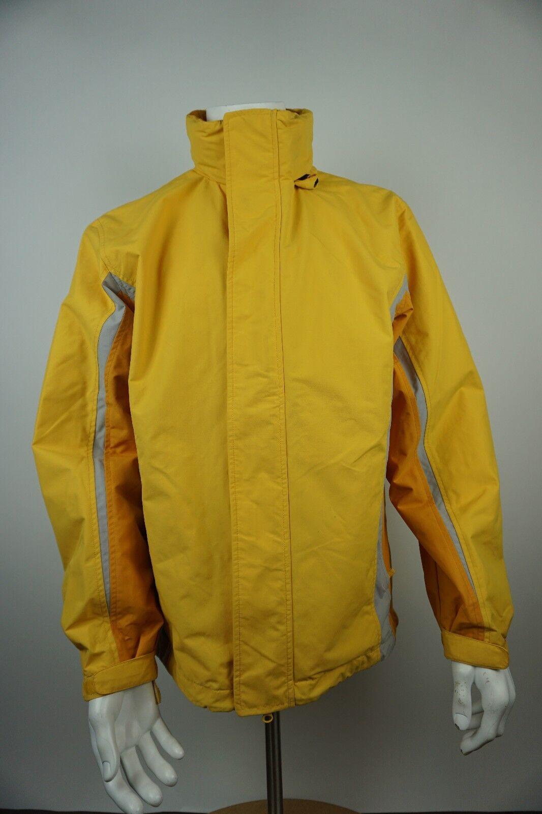 Lands Ends Mens Coat Nylon Yellow Reflective Hooded Rain Size M 38 40