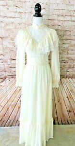 Vintage-70s-Ivory-Lace-Maxi-Dress-Boho-Victorian-Wedding-Dress-Prairie-size-S-M