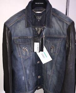 65-DI-SCONTO-NUOVO-PHILIPP-PLEIN-Giacca-di-jeans-con-maniche-in-pelle-XL-AUTENTICO