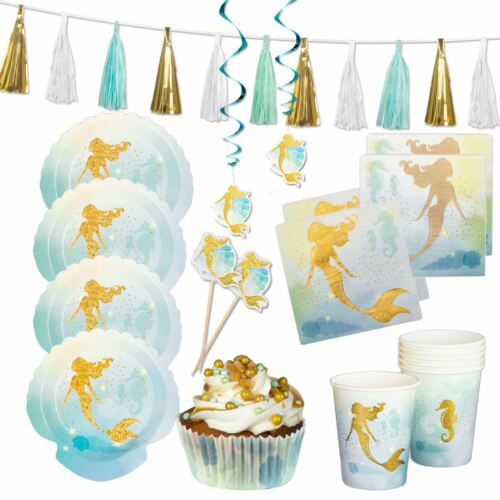 89pc Mermaid Party Party Set Gold Blue Plates Napkins Tableware Decorations Pack