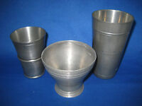 Lot of 3 Antique  German Pewter Cups/Containers Engraved Rims and Marks