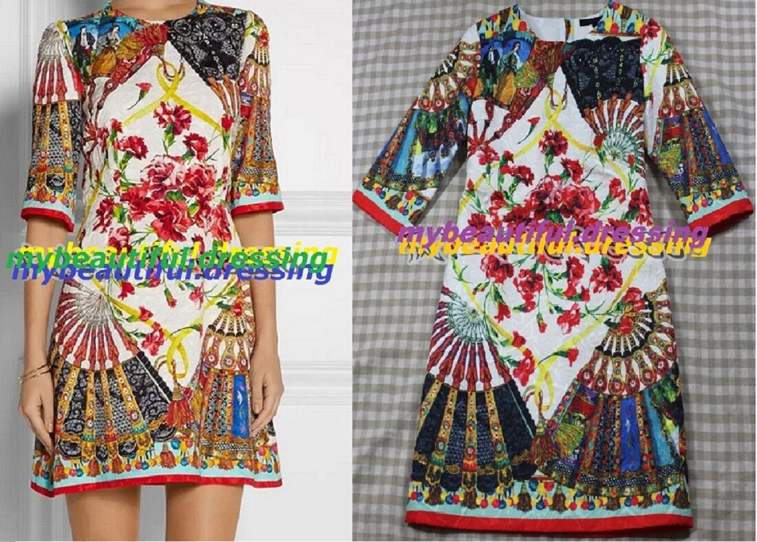 MW007525 - DESIGNER MULITCOLOUR PRINT 3 4 SLEEVE DRESS