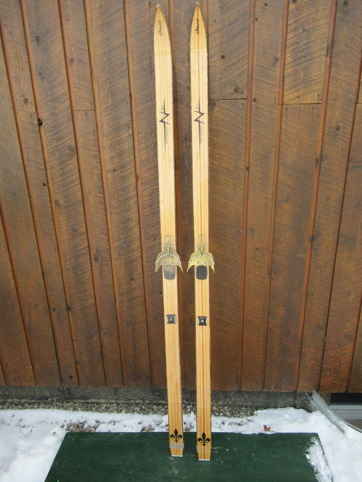 INTERESTING OLD Skis 68   Long BLOND Finish Signed CLEMENT with Metal Bindings