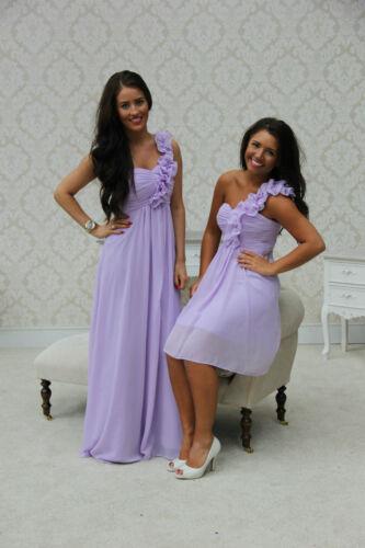 New 1 Shoulder Chiffon Bridesmaid Dress Short Ballgown Maxi Prom Wedding Party