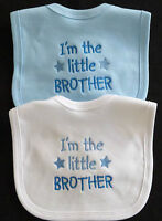 I'm The Little Brother Baby Bib Babies Clothes Cute Boy Blue White Funny Gift